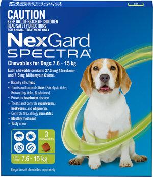 NEXGARD SPECTRA GREEN 3PACK 7.6-15KG