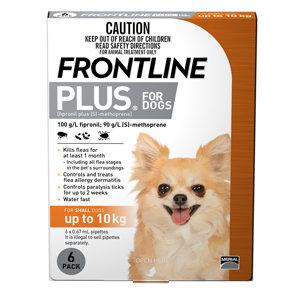 FRONTLINE PLUS DOG ORANGE 6pack 0-10KG