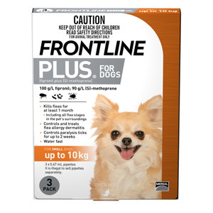 FRONTLINE PLUS DOG ORANGE 3pack 0-10KG