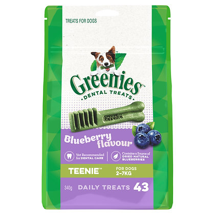 Blueberry Flavour Teenie Dog Dental Treats 43 Pieces