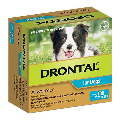 DRONTAL TABS DOG 10KG MED 100pack
