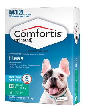 COMFORTIS DOG 560MG GREEN 6 pack TABS 9.1-18KG