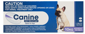 CANINE ALLWORMER 10KG 2'S
