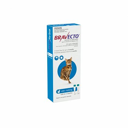 SPOT-ON CAT BLUE BRAVECTO 2 pack MEDIUM 250MG 2.8-6.25KG