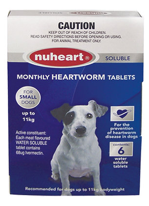 NUHEART HEARTWORM TABS SMALL 6PACK 0-11KG