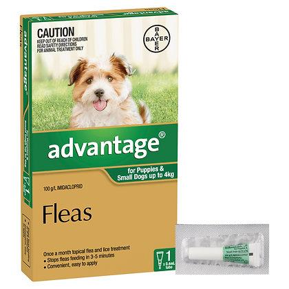 ADVANTAGE DOG 0-4KG GREEN 1 pack