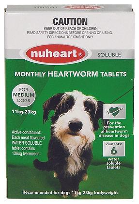 NUHEART HEARTWORM TABS MEDIUM 6 PACK 11-23KG