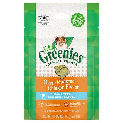 Greenies Feline Cat Dental Treats Oven Roasted Chicken Flavor 60g