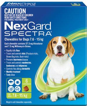 NEXGARD SPECTRA GREEN 6PACK 7.6-15KG