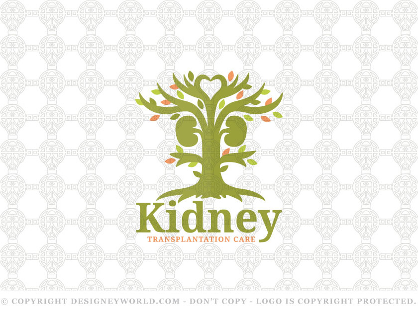 Kidney Love Tree Logo Design for Sale + Free Customization. This logo combines between two kidneys, a heart and a tree to represent full natural care.