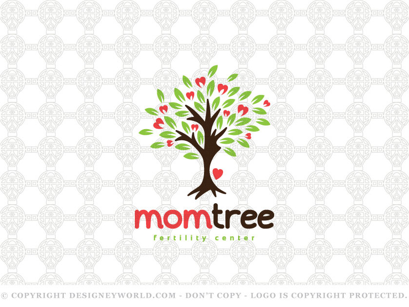 Mother and Baby Care Logo Design for Sale + Free Customization. A piece of creative art for using the negative space. Tree with a lot of green leaves and caring hearts representing care and health for the pregnant woman in the negative space of tree trunk. The big heart refers to the lovely baby.