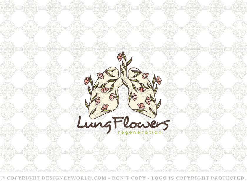 Lungs Flowers Logo Design for Sale + Free Customization. Modern, creative and clean logo for two lungs with fresh flowers and tree branches.