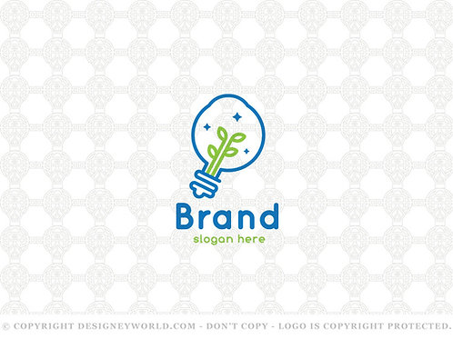 Eye Light Bulb Idea Grow Logo