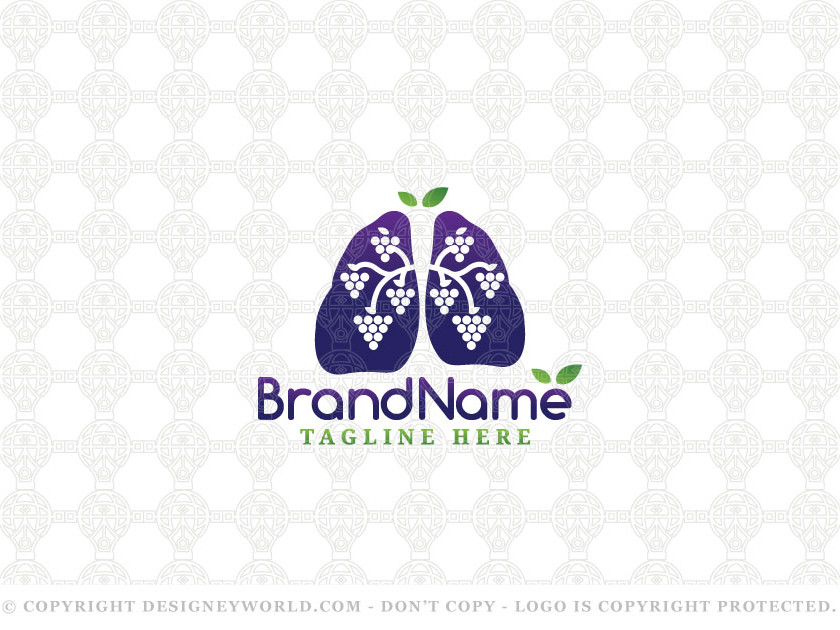 Lungs Grapes Logo Designs for Sale + Free Customization. Modern, creative and clean logo for two lungs with fresh grapes fruits in the negative space of it. Two leaves are above the trachea for fresh and natural look.