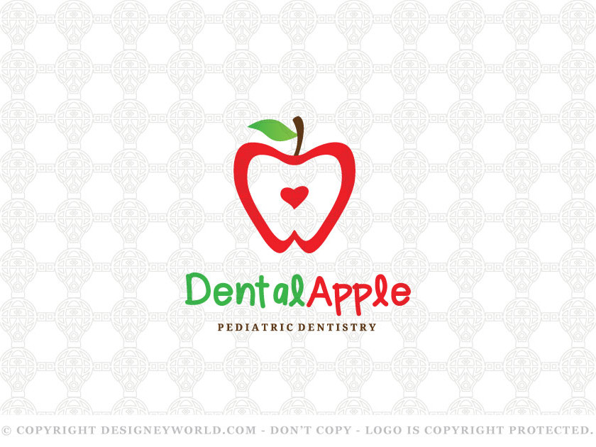 "Dental Apple Logo for Sale + Free Customization. Apple shaped tooth. I came up with this simple and unique logo from the saying ""An apple a day, keeps the doctor away"" that probably gives us the impression that apples are the healthiest fruits. Keywords: apple, dental, dentist, dentistry, teeth, tooth, doctor, clinic, pediatric, caring, care, apples, apples, fruit, orthodontic, orthodontics, healthy, health, medicine, medical logo, logos."