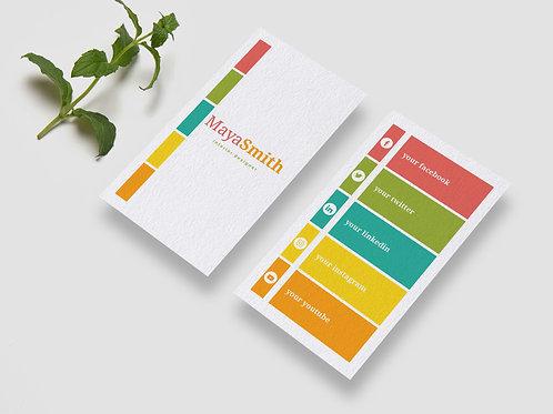 Colorful Vertical Social Media Business Card Design