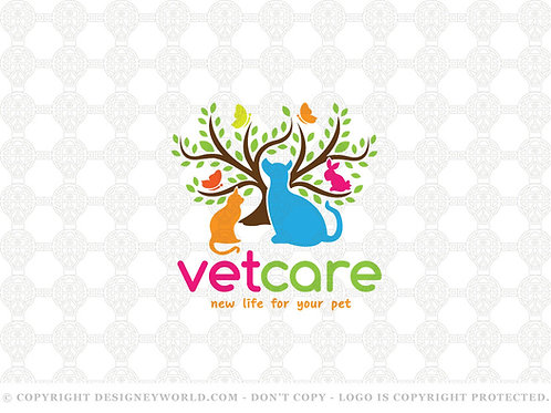 Pets Vet Care Tree Logo