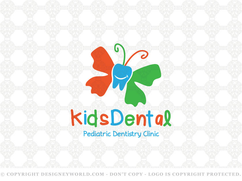 Kids Dental Care Logo for Sale + Free Customization. A tooth butterfly logo. Keywords: teeth, butterfly, tooth cleaning, dentist, smiling, dental, practice, smile, butterfly, tooth, dental office, flying, care, clinic, healthcare, medicine, cosmetic, kids, kid, pediatric, medical, whitening, logo, logos.