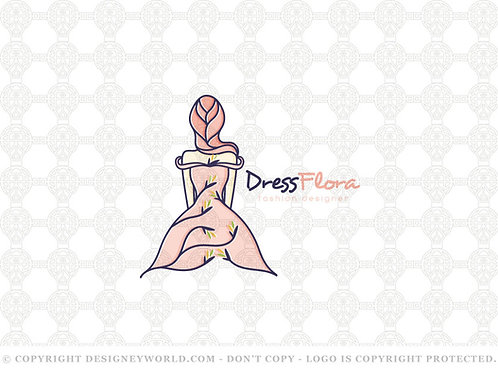 Dress Flora Fashion Design Logo