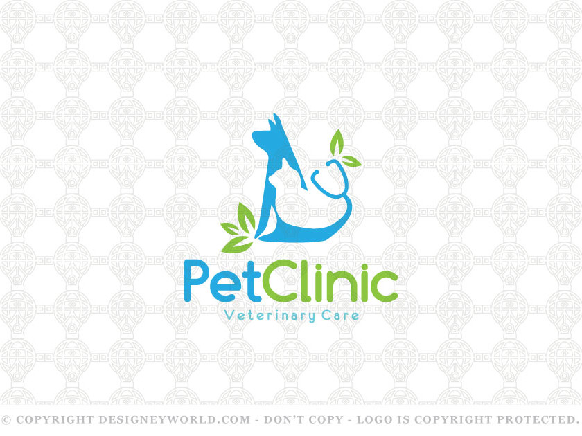 Pet Care Clinic Logo for Sale + Free Customization. Simple and unique dog and cat in the negative space of it. Pets sharing stethoscope tail and some leaves. Keywords: dog, dogs, animals, pet, care, organic, cat, leaves, eco-friendly, pets, veterinary, oak, petals, healthcare, medicine, medical, clinic, caring, cat, cats, veterinary, vet, pets, logo, logos, stethoscope.