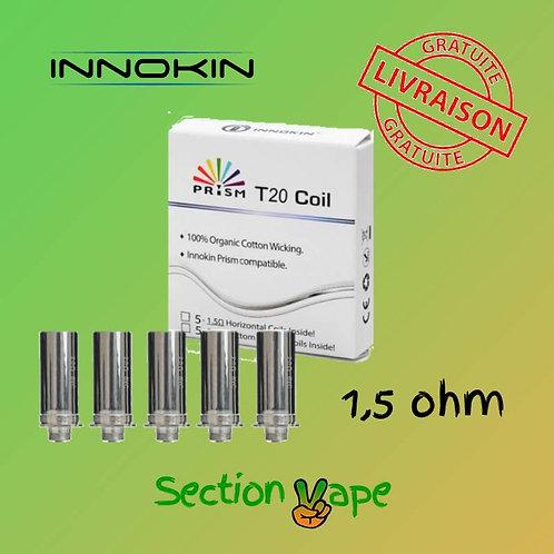 5 résistances Prism t20 , innokin, 1.5 ohm 12-14w