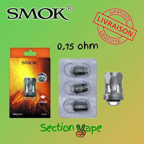 3 résistances Smok Baby V2-S2, 0.15 ohm