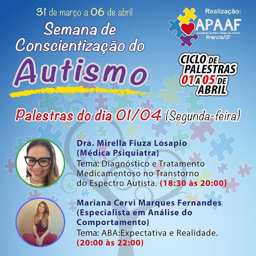 Semana de conscientização do Autismo - Palestras 01/04/2019