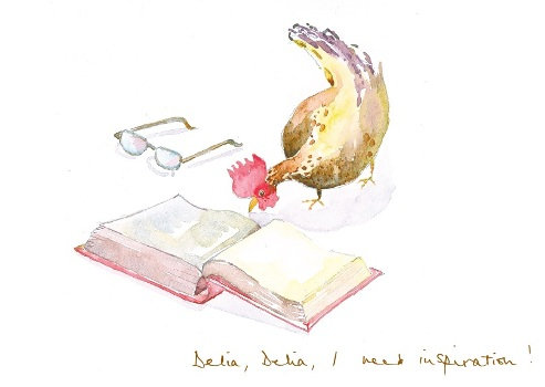 hen staring at a delia recipe book with glasses on the side