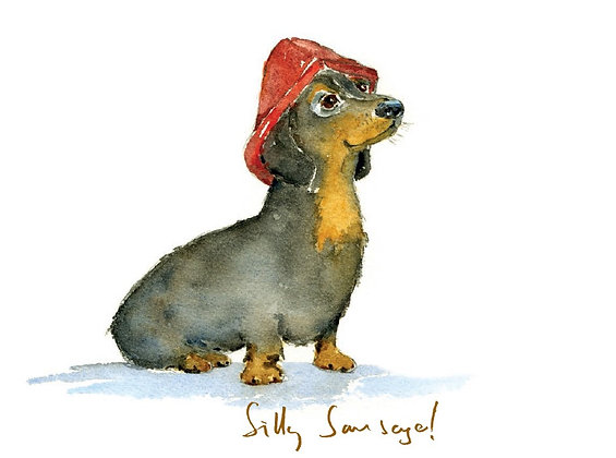Silly sausage greeting card weiner with a red hat