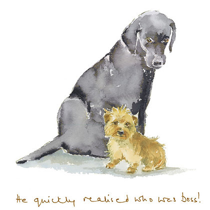Labrador and terrier greeting card image