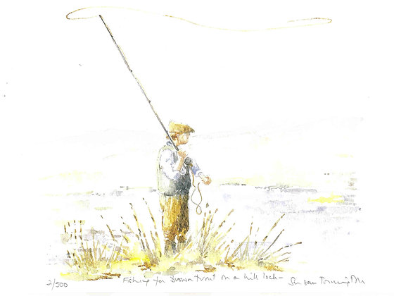 Fishing for Brown Trout A4 Print