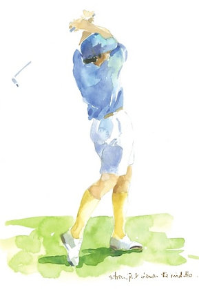 Golfer with a blue top swinging his club
