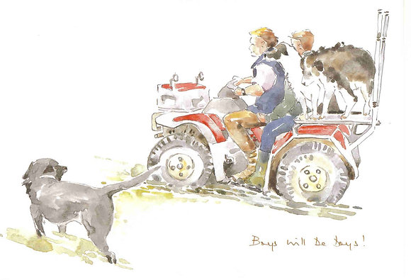 Man on quad bike with dogs