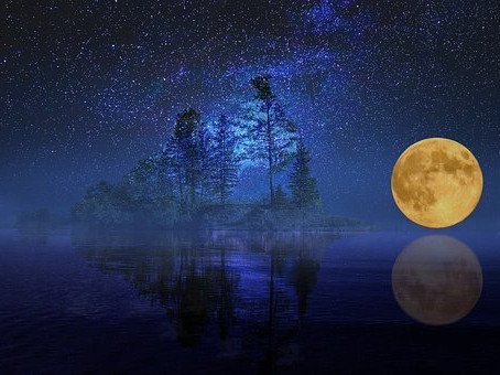 A calm lake bathed in moonlight