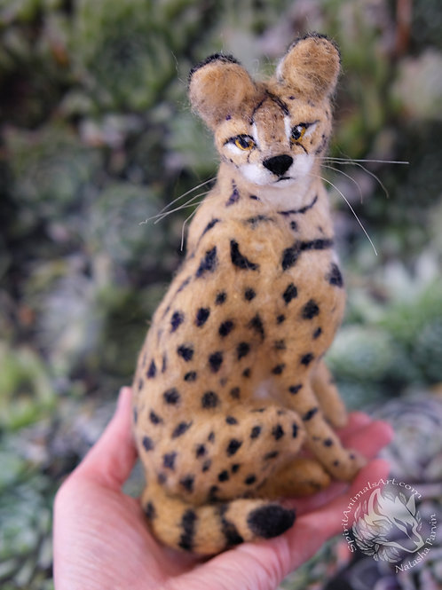 """Needle Felted African Serval Figure sitting 8-10"""" Made to Order"""