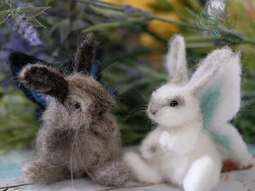 Needle felted bunny fly, butterfly wings wool bunny. Made to order