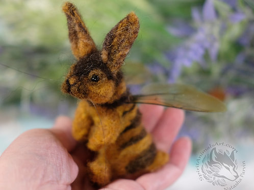 Needle felted bunny bee wool art, posable. Made to order