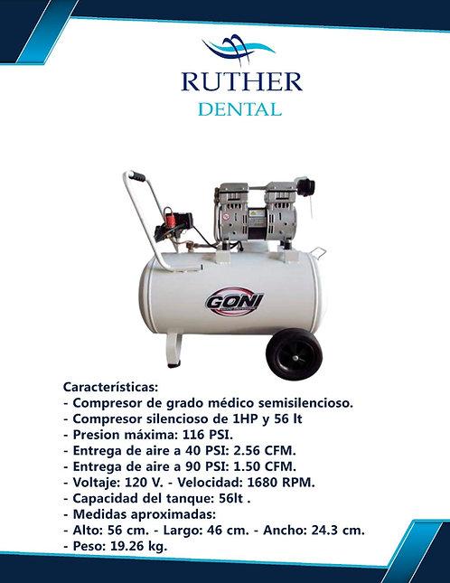 Compresor Silencioso 1 Hp 56lt Grado Medico Y Dental  Goni