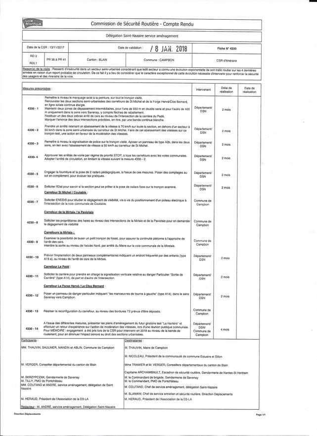 Compte rendu - Commission de Sécurité routière (13/11/2017)