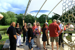 Attendees socializing on the patio