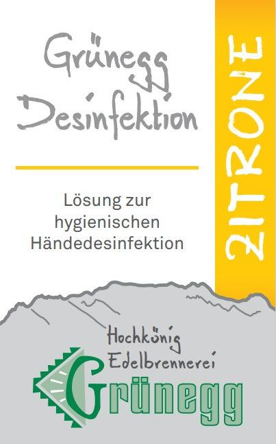"""Grünegg Händedesinfektion """"Zitrone"""""""