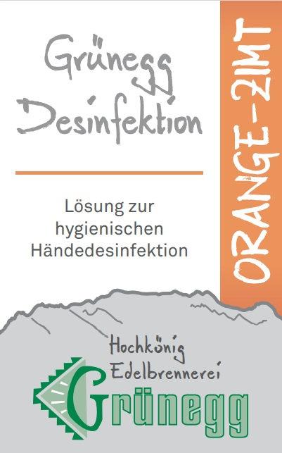 """Grünegg Händedesinfektion """"Orange-Zimt"""""""