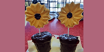 Edible flowers and flower pots from Rose Chocolatier