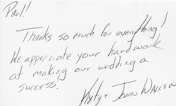 Thank you from Katy & John