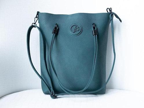 Jo Borkett Nu Buck Convertible Tote Handbag - Teal
