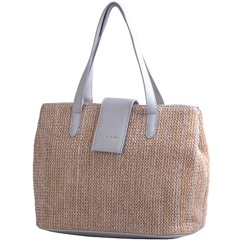 Pierre Cardin Christine Satchel Handbag - Natural Grey
