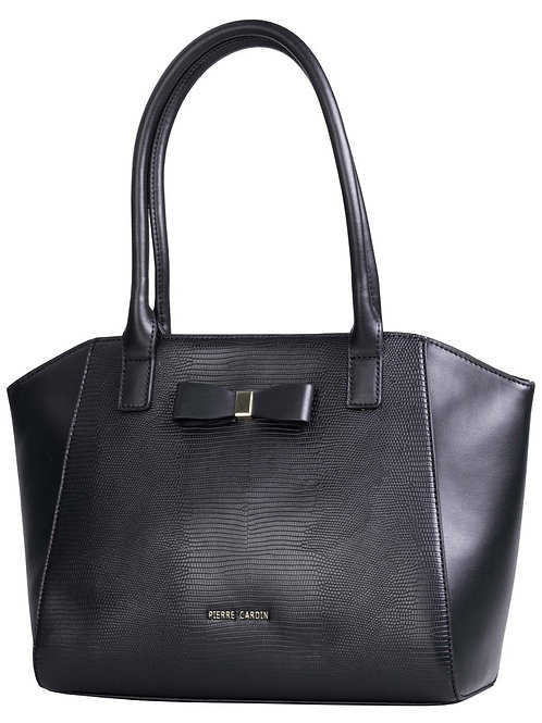 Pierre Cardin Caila Top Handle satchel Handbag - Black Snake