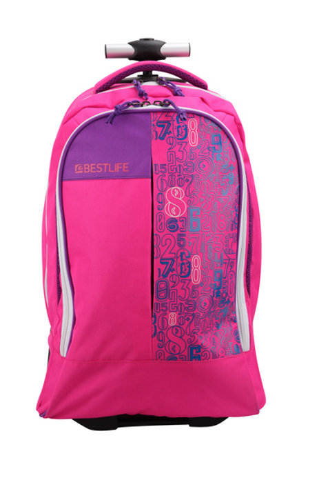 BestLife Campus Girls Trolley Backpack - Pink
