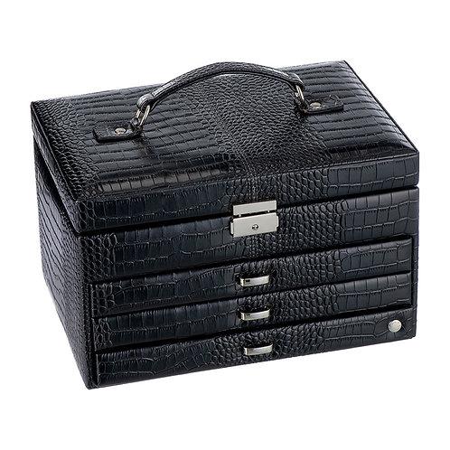 CaraMia Large Jewellery Box - Black Croco