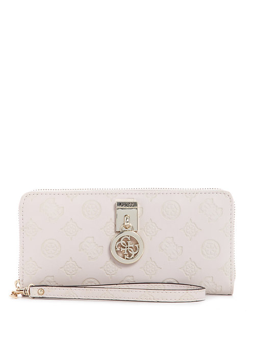 Guess Ninnette Large Zip Around Purse - Stone